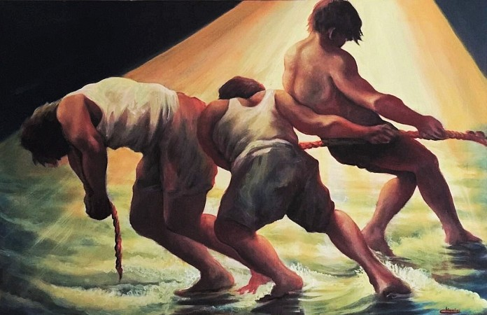 Fishermen under the lampara