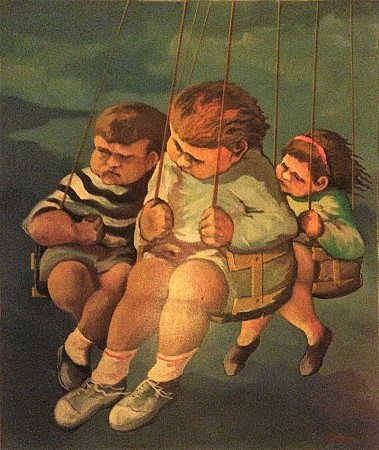 Bambini con altalena