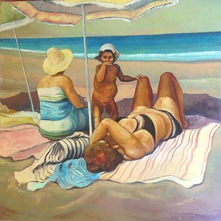Under the beach umbrella