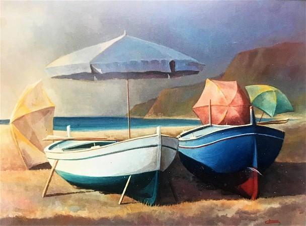 Barche con ombrelloni