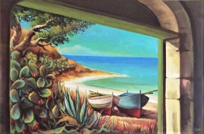 Paesaggio marino con barche