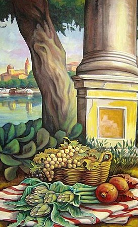 Still life with Landscape