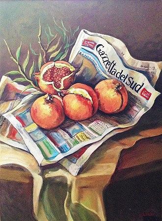 Pomegranates in the newspaper